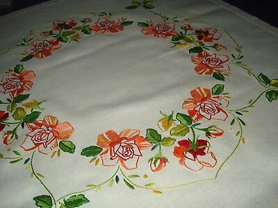 Vintage Hand Embroidered Cream Linen Tablecloth