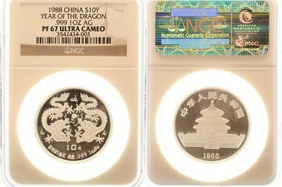 China 10 Yuan 1988 - Drache - Auflage: 20.000 Ex. - Silber - PF67 ULTRA CAMEO