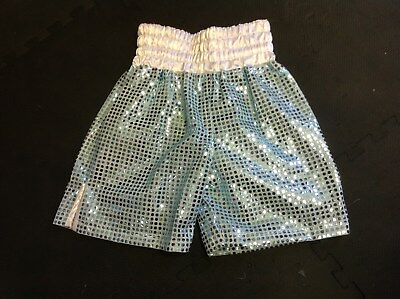 sky blue circle sequin boxing shorts