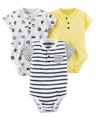Carter's 3-Pack Henley Original Bodysuits Route 66 Blue Striped Baby Boy NWT