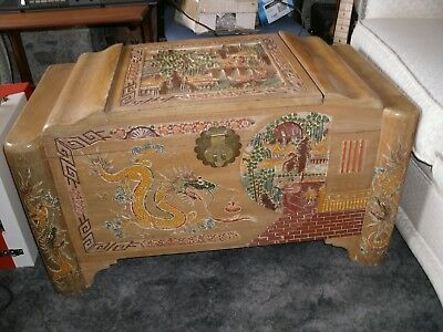 Chinese Camphor Chest - Beautifully Colour Carved