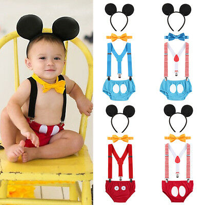 5f9b9ebc1 Mickey Mouse Baby Boy Birthday Cake Smash Photography Prop Clothes Romper  Outfit