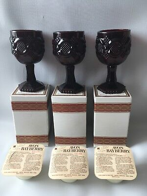 3 Avon Cape Cod Ruby Red Wine Goblet Candle Holders + Scented Bayberry Candles