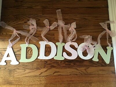 Wooden Nursery Letters Pink& Green ADDISON