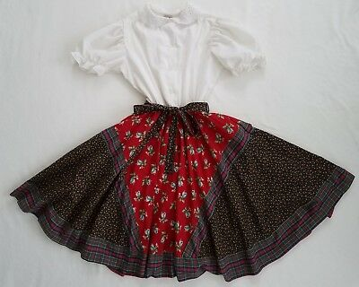 Girls sz 14 Chantilly by Jill Kasten Vtg Dress 1980's Eyelet Red Floral Plaid