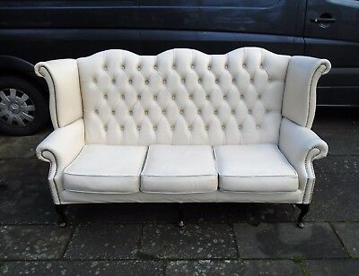 Creamy White Leather Chesterfield Wing Back Sofa    Delivery Available