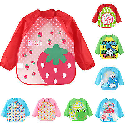 Toddler Baby Kid Feeding Art Bibs With Sleeve Infant Plastic Smock Apron Cartoon