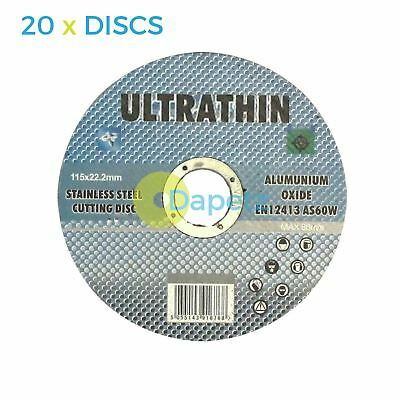 """20 x 115mm 4.5"""" ULTRA THIN METAL CUTTING BLADE DISC 4 1/2"""" STEEL & STAINLESS 1MM"""