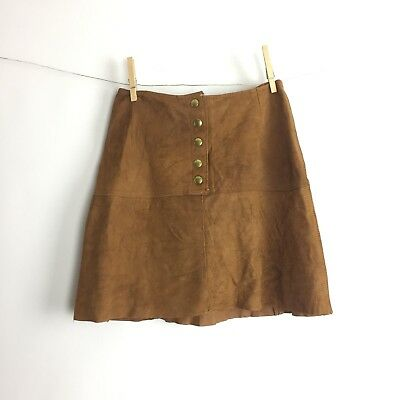 Vintage 60's High Waisted Brown Leather Suede Hippie Mini Skirt Boho Woodstock