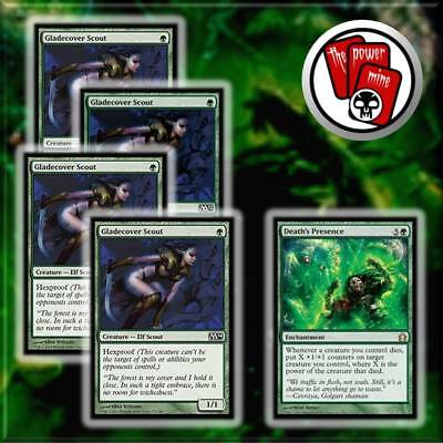 4x Gladecover Scout + Death's Presence ~ MTG Magic the Gathering Rare ~ NEW