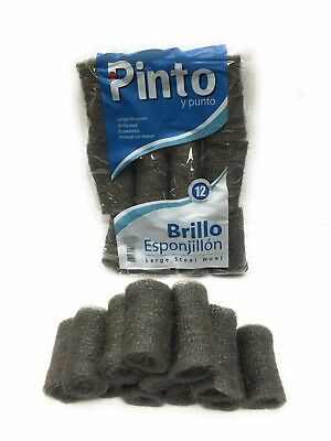 2 Bags of 12 Pads =(24 Pads) Pinto Large Extra Fine Heavy Duty Steel Wool Pads