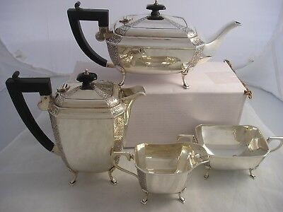 Quality 1939 Gloster Art Deco SILVER 4 Piece Attractive Tea Service 1820 grams
