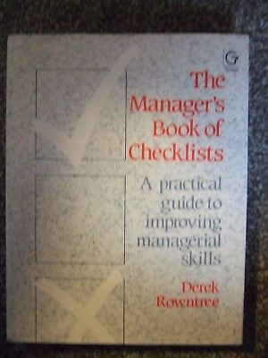 GOWER The Manager's Book of Checklists by Derek Rowntree - Hardback