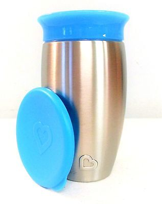 Munchkin Miracle Stainless Steel 360 Sippy Cup, Blue, 10 Ounce **NEW** []
