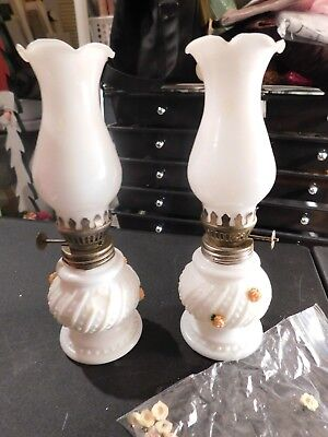 Matching Pair antique Vintage Oil Lamp MILK Glass Base HOBNAIL tiny small 7 1/2