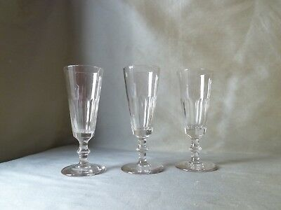 3 Antique Victorian Petal Cut Wine/Champagne Glasses on Knopped Stem, Crystal