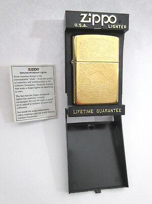 Vtg Zippo XII Camel Cig Gold Plated 2 Sided Scroll Work lighter in Case ~1996