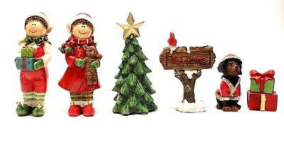 6 PC HAND PAINTED RESIN HOLIDAY MINIATURE VILLAGE FIGURINES CHRISTMAS DECOR A