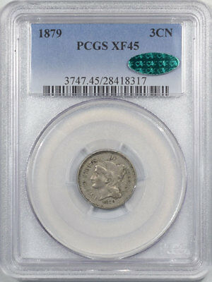 1879 Three Cent Nickel Pcgs Xf-45 Cac Approved
