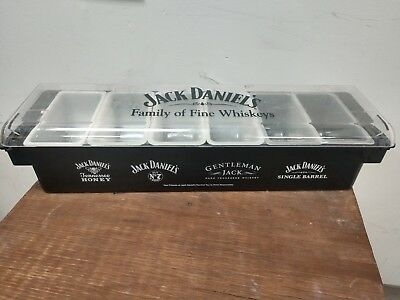 Jack Daniels Condiment Garnish Tray Caddy Holder & Jim Beam Napkin Holder (2)