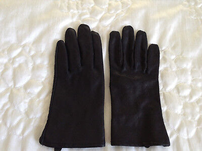 Ladies black leather gloves - size L - Pre owned