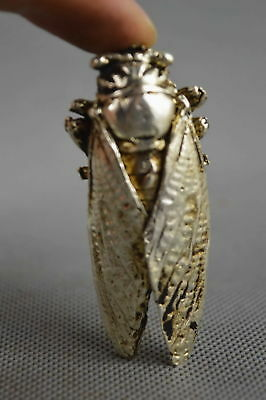Collectable Handwork Decor Old Miao Silver Carve Cicada Buddhism Special Statue
