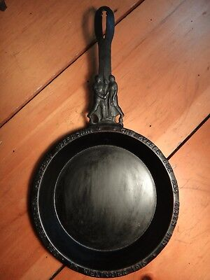 Antique Cast Iron Skillet c1916 WWI German Figural Housewife Gave Copper Pot Pan