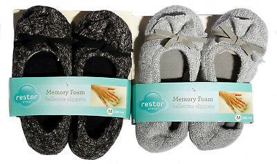 Restor Memory Foam Women's Ballerina Slippers 2 Pairs Black AND Gray S, M OR L