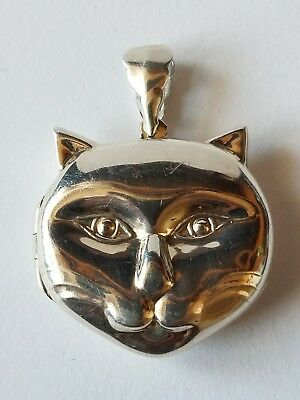 vintage silver cat head lock it signed REO marked 925
