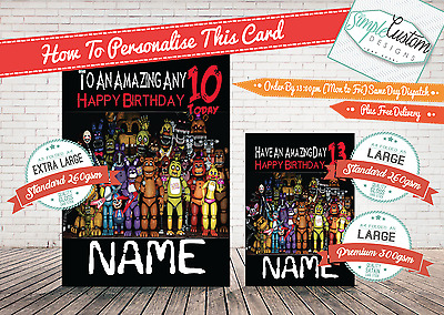 Five Nights at Freddy's 3 - Personalised   - Birthday Card ~LARGE ~ 260gsm GLOSS