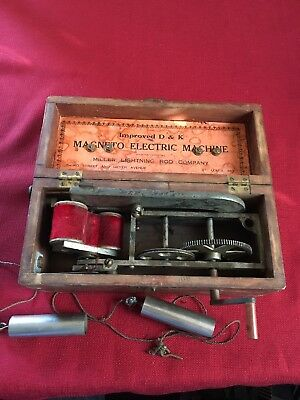 Magneto Electric Machine shock Miller Lightning Rod Co Improved D & K Steampunk
