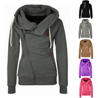 Ladies Womens Zip Plain Hoodie Hoody Sweatshirt Hooded Jumper Jacket Coat Tops
