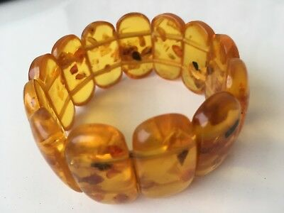 Old Genuine Baltic Amber Bracelet  Egg Yolk natural vintage 38 gr!