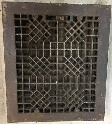 "Antique Cast Iron floor register heat Grate Vent cover 12 x 14"" w louvers"