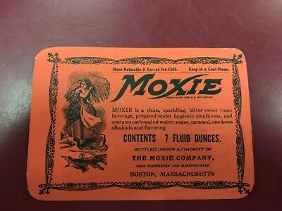 Vintage Red 7 Ounce Moxie Soda Bottle Label.Unused Old Stock