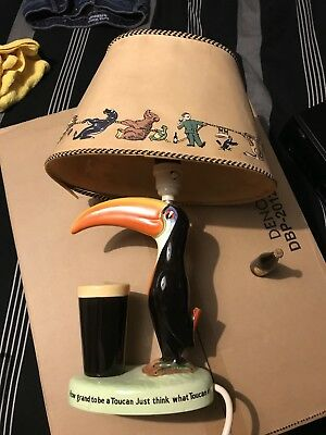 Guinness Genuine Toucan Lamp With Original Lamp Shade & Two Miniature Bottles.