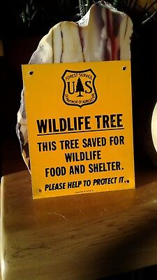 Vintage Forest Service Wildlife Tree Sign  New Aluminum Approx. 5.25 x 4.25 inch