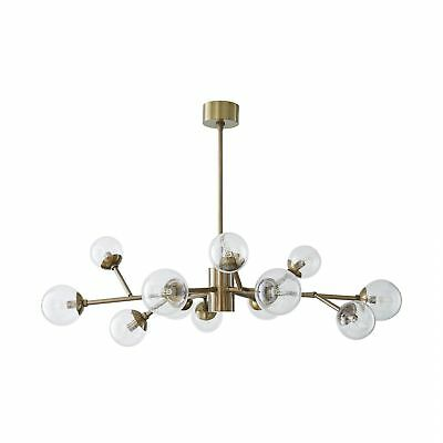 """48"""" Dia Chandelier Vintage Brass Canopy Finish Glass Crystal Gold Clear Clear"""