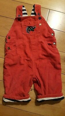 Frugi Red Cord Dinosaur Dungarees Size 6-12 Months