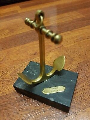 French Vintage Brass Display Model Ships Anchor Paperweight Desk Boat Nautical
