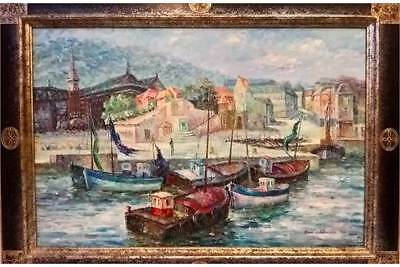 An impressionist 1960s oil of a continental harbour fishing fleet byRon Bradford