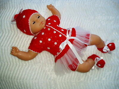 "Hand knitted Baby Christmas set & reborn doll outfit 19"" - 21"""