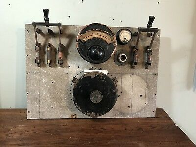 Vintage Industrial Gauge Panel Electrical Control Board W/Knife Switches