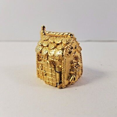 Painted Pewter Thimble Gold Hansel & Gretel Witch Candy House Vintage