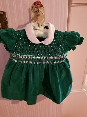 Vintage Girls Smocked Green Velvet Holiday  Dress Size 18mos. L@@K!!!