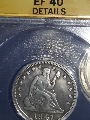1847 Seated Lierty Quarter Anacs XF 40 Details