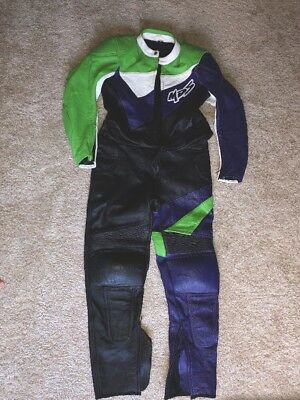 MDS 2 Piece Kawasaki Motorcycle Leather Suit SIZE 42