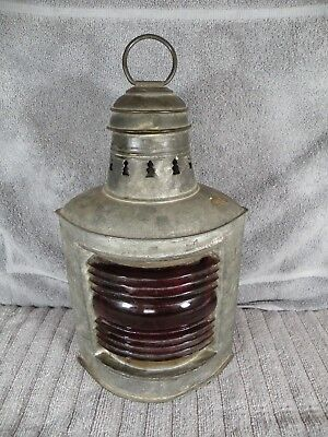 "Vintage 12"" Tall Perko Ship's Lantern With Red Globe Kerosene Burner"