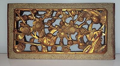 Antique 19th C. Late Qing Dynasty Carved Gilded Wood Panel w/ Birds and Flowers