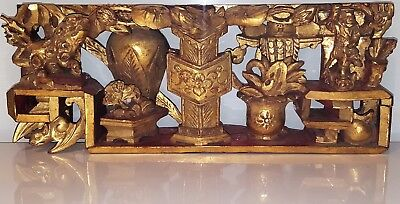 Antique 19th C. Late Qing Dynasty Carved Gilded Wood Panel